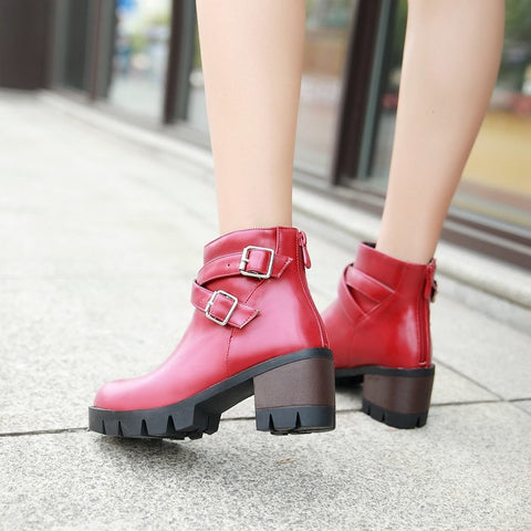 PU Pure Color Round Toe Middle Block Heel Metal Buckle Back Zipper Ankle Boots 9.5 Red
