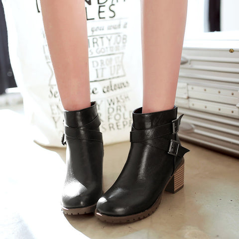 PU Pure Color Round Toe Back Zipper Middle Block Heel Ankle Boots 8.5 Black