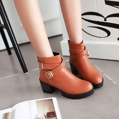 PU Pure Color Round Toe Middle Block Heel Metal Buckle Back Zipper Ankle Boots 8.5 Brown