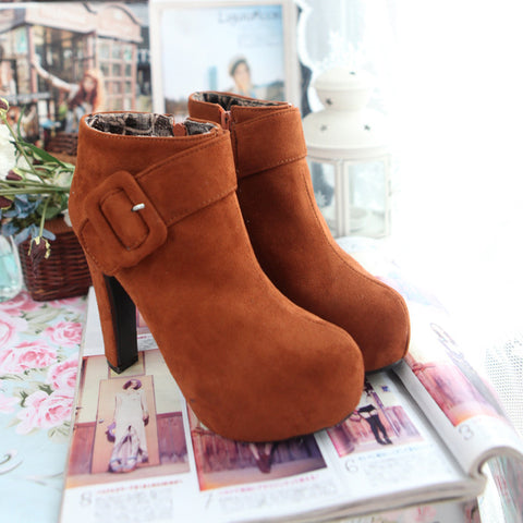 PU Pure Color Round Toe High Block Heel Side Zipper Ankle Boots 9.5 Brown