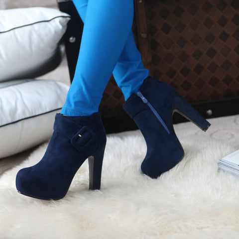 PU Pure Color Round Toe High Block Heel Side Zipper Ankle Boots 8.5 Dark blue