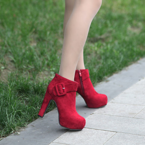 PU Pure Color Round Toe High Block Heel Side Zipper Ankle Boots 9 Red