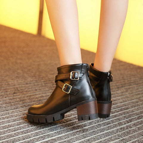 PU Pure Color Round Toe Middle Block Heel Metal Buckle Back Zipper Ankle Boots 9.5 Black