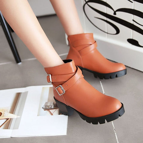 PU Pure Color Round Toe Middle Block Heel Metal Buckle Back Zipper Ankle Boots 9.5 Brown