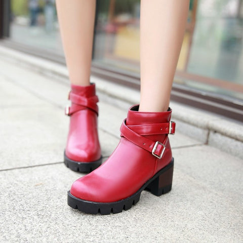 PU Pure Color Round Toe Middle Block Heel Metal Buckle Back Zipper Ankle Boots 8.5 Red