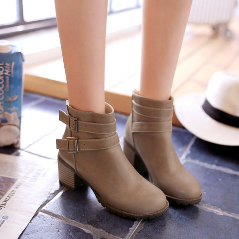PU Pure Color Round Toe Back Zipper Middle Block Heel Ankle Boots 8.5 Camel