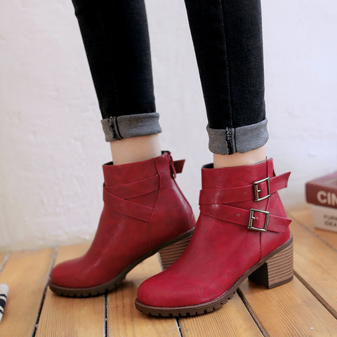 PU Pure Color Round Toe Back Zipper Middle Block Heel Ankle Boots 9 Dark red