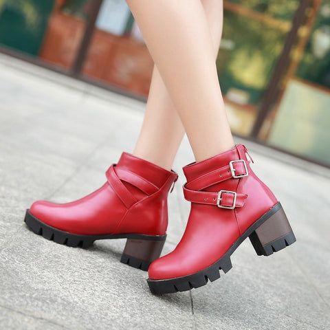 PU Pure Color Round Toe Middle Block Heel Metal Buckle Back Zipper Ankle Boots 9 Red