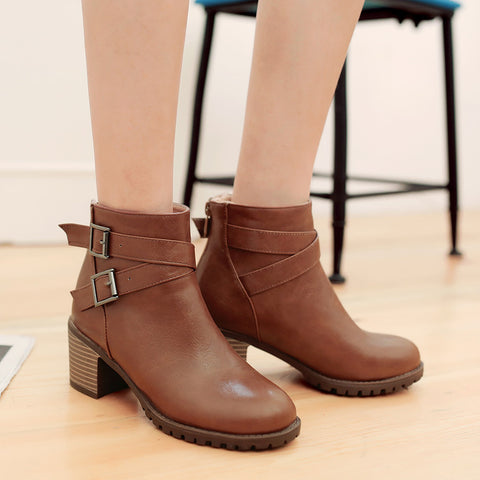PU Pure Color Round Toe Back Zipper Middle Block Heel Ankle Boots 8.5 Brown