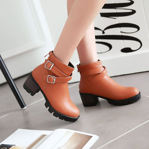 PU Pure Color Round Toe Middle Block Heel Metal Buckle Back Zipper Ankle Boots 9 Brown