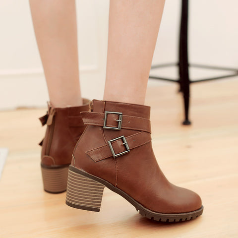 PU Pure Color Round Toe Back Zipper Middle Block Heel Ankle Boots 9.5 Brown