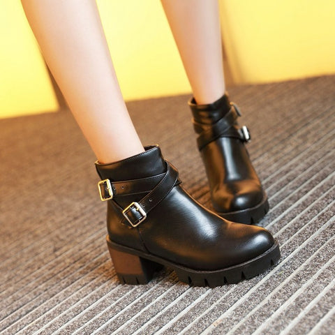 PU Pure Color Round Toe Middle Block Heel Metal Buckle Back Zipper Ankle Boots 8.5 Black