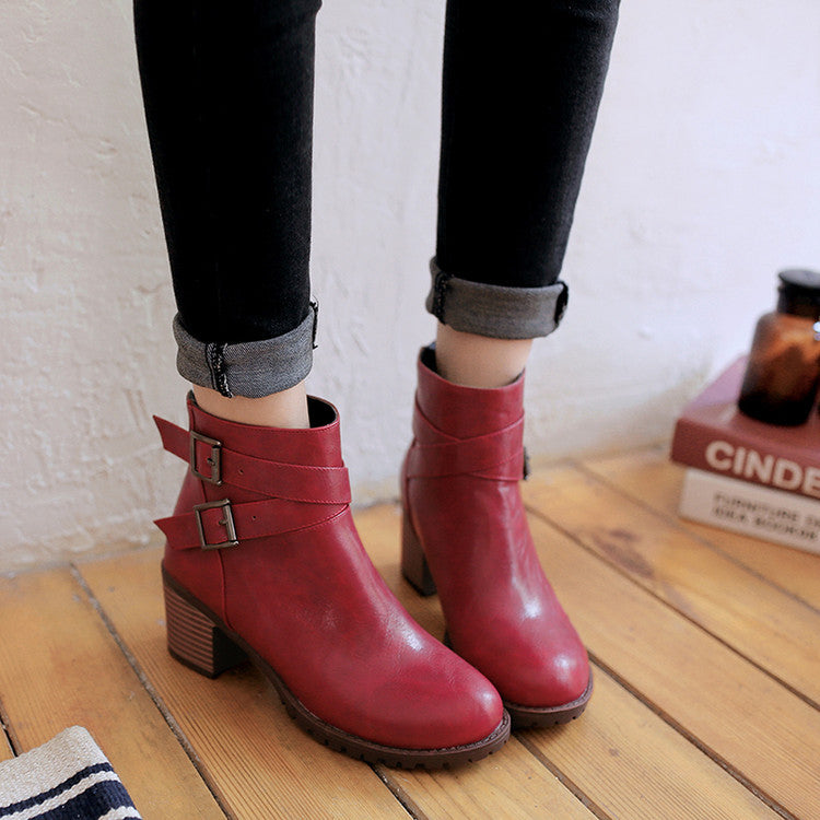 PU Pure Color Round Toe Back Zipper Middle Block Heel Ankle Boots 8.5 Dark red