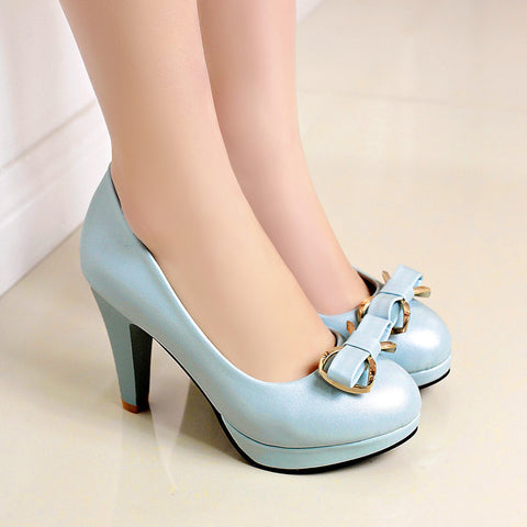 PU Round Toe Candy Color High Block Heel Bowtie Pumps 42 Light blue