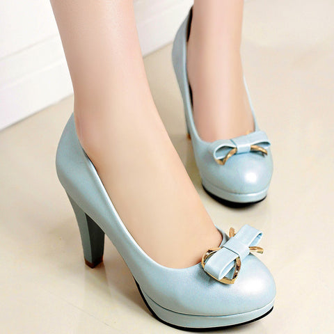 PU Round Toe Candy Color High Block Heel Bowtie Pumps 41 Light blue