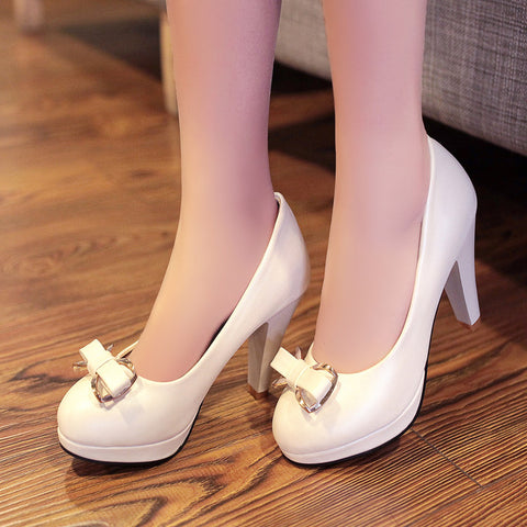 PU Round Toe Candy Color High Block Heel Bowtie Pumps 42 White