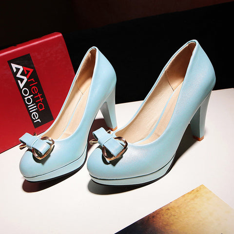 PU Round Toe Candy Color High Block Heel Bowtie Pumps 43 Light blue