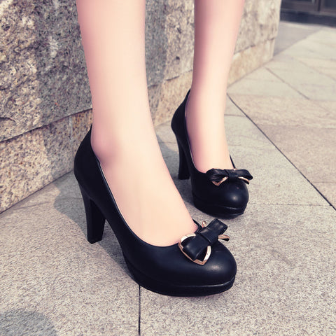 PU Round Toe Candy Color High Block Heel Bowtie Pumps 41 Black