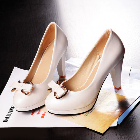 PU Round Toe Candy Color High Block Heel Bowtie Pumps 43 White