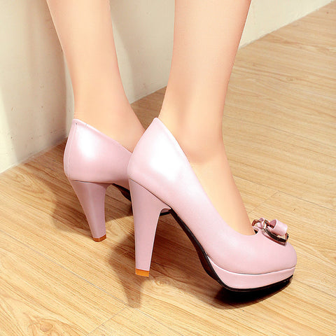 PU Round Toe Candy Color High Block Heel Bowtie Pumps 42 Pink