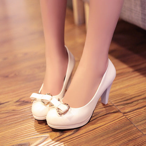 PU Round Toe Candy Color High Block Heel Bowtie Pumps 41 White