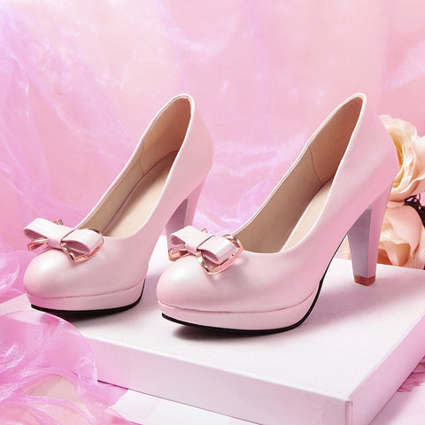 PU Round Toe Candy Color High Block Heel Bowtie Pumps 43 Pink