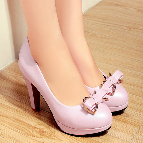 PU Round Toe Candy Color High Block Heel Bowtie Pumps 41 Pink