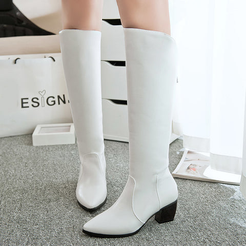 PU Pure Color Pointed Toe Back Zipper Middle Block Heel Knee High Boots 8.5 White