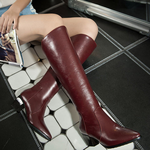 PU Pure Color Pointed Toe Back Zipper Middle Block Heel Knee High Boots 8.5 Wine red