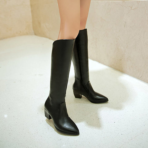 PU Pure Color Pointed Toe Back Zipper Middle Block Heel Knee High Boots 8.5 Black