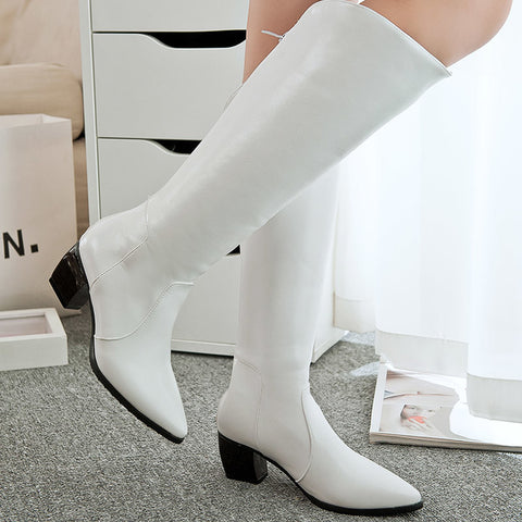 PU Pure Color Pointed Toe Back Zipper Middle Block Heel Knee High Boots 9 White