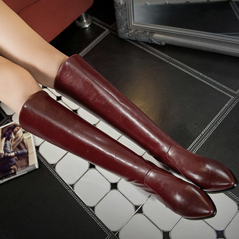 PU Pure Color Pointed Toe Back Zipper Middle Block Heel Knee High Boots 9.5 Wine red