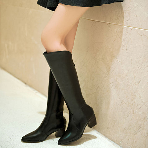 PU Pure Color Pointed Toe Back Zipper Middle Block Heel Knee High Boots 9.5 Black
