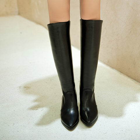 PU Pure Color Pointed Toe Back Zipper Middle Block Heel Knee High Boots 9 Black