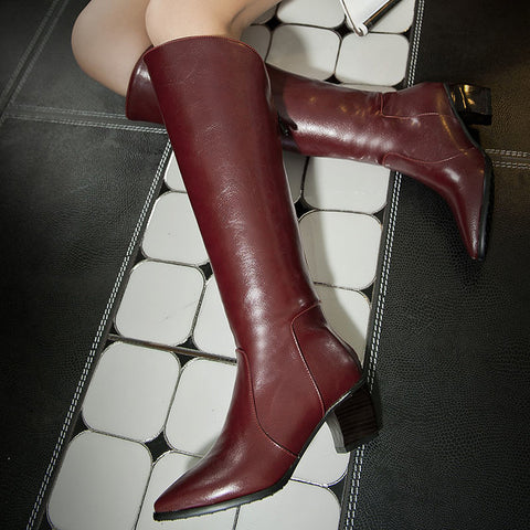 PU Pure Color Pointed Toe Back Zipper Middle Block Heel Knee High Boots 9 Wine red