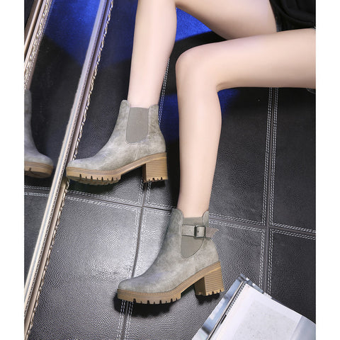 PU Pure Color Round Toe Metal Buckle Middle Block Heel Short Boots 37 Dark gray