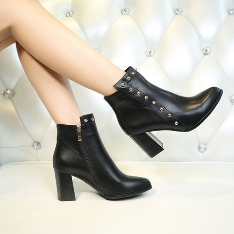 PU Pure Color Pointed Toe High Block Heel Rivet Ankle Boots With Side Zipper 39 Black