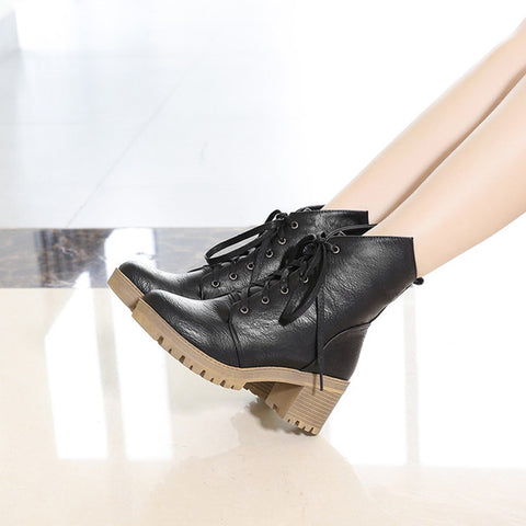 PU Pure Color Round Toe Middle Block Heel Lace Up Short Boots 6.5 Black
