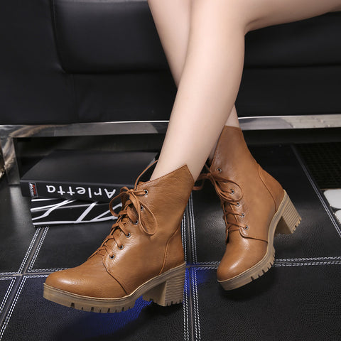 PU Pure Color Round Toe Middle Block Heel Lace Up Short Boots 7.5 Brown
