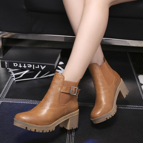 PU Pure Color Round Toe Metal Buckle Middle Block Heel Short Boots 38 Brown