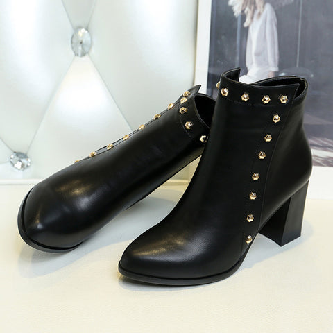 PU Pure Color Pointed Toe High Block Heel Rivet Ankle Boots With Side Zipper 37 Black