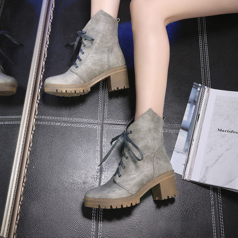 PU Pure Color Round Toe Middle Block Heel Lace Up Short Boots 6.5 Dark gray