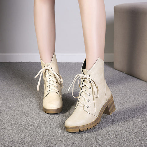 PU Pure Color Round Toe Middle Block Heel Lace Up Short Boots 7 Beige