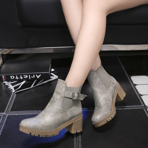 PU Pure Color Round Toe Metal Buckle Middle Block Heel Short Boots 38 Dark gray