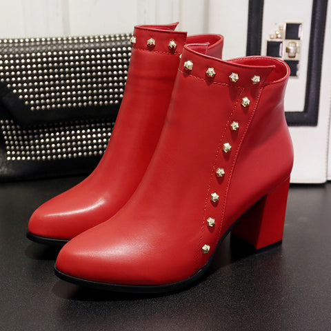 PU Pure Color Pointed Toe High Block Heel Rivet Ankle Boots With Side Zipper 37 Red