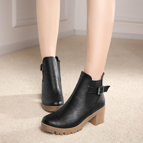 PU Pure Color Round Toe Metal Buckle Middle Block Heel Short Boots 38 Black