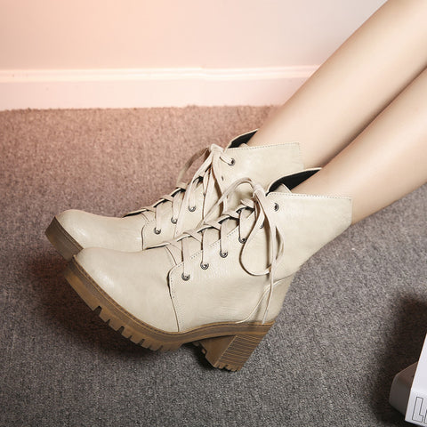PU Pure Color Round Toe Middle Block Heel Lace Up Short Boots 6.5 Beige