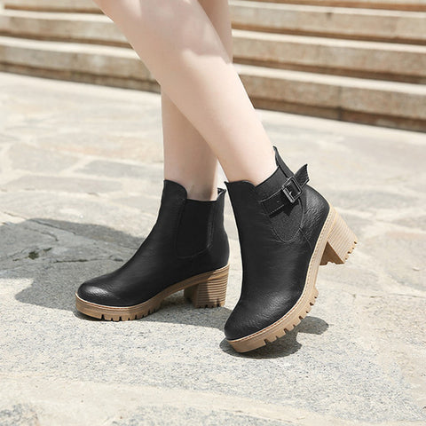 PU Pure Color Round Toe Metal Buckle Middle Block Heel Short Boots 39 Black