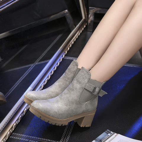 PU Pure Color Round Toe Metal Buckle Middle Block Heel Short Boots 39 Dark gray