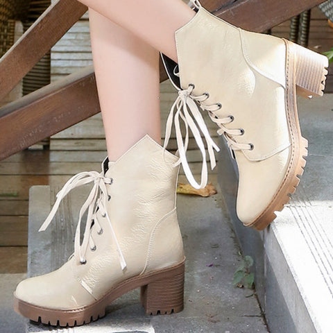 PU Pure Color Round Toe Middle Block Heel Lace Up Short Boots 7.5 Beige